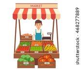 farm shop. local stall market.... | Shutterstock .eps vector #468277889