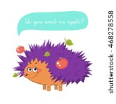 cute purple hedgehog with... | Shutterstock .eps vector #468278558