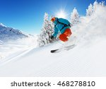 skier on piste running downhill ... | Shutterstock . vector #468278810