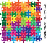 multicolour jig saw puzzle | Shutterstock .eps vector #468291260