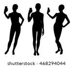 girl silhouettes taking selfie... | Shutterstock .eps vector #468294044