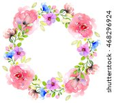 watercolor wreath illustration. ... | Shutterstock . vector #468296924