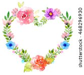 watercolor wreath illustration. ... | Shutterstock . vector #468296930