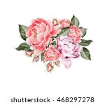 vintage card with roses and... | Shutterstock . vector #468297278