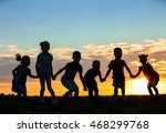 happy kids silhouettes on... | Shutterstock . vector #468299768