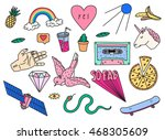 fun patch summer set. vector... | Shutterstock .eps vector #468305609