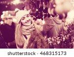 portrait of smiling longhaired... | Shutterstock . vector #468315173