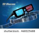 3d glasses  cinema movie... | Shutterstock .eps vector #468325688