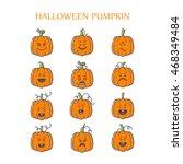 vector halloween pumpkin linear ...   Shutterstock .eps vector #468349484
