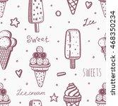 sweet vector seamless ice cream ... | Shutterstock .eps vector #468350234