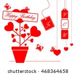 happy birthday card  with heart  | Shutterstock .eps vector #468364658