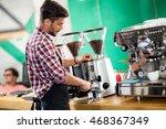 satisfied barista steaming milk ... | Shutterstock . vector #468367349