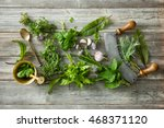 fresh kitchen herbs and spices... | Shutterstock . vector #468371120