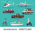 set of people and vehicles.... | Shutterstock .eps vector #468371360