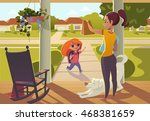 mother seeing daughter off to... | Shutterstock .eps vector #468381659