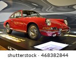 Small photo of WOLFSBURG, GERMANY - APRIL 15, 2016. Porsche 911 car from 1966 on display at Autostadt museum in Wolfsburg.
