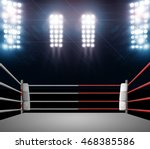 boxing ring with illumination... | Shutterstock . vector #468385586