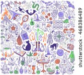 witchcraft and halloween... | Shutterstock .eps vector #468386489