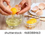 Woman Hands Breaking An Egg To...