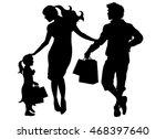 black vector silhouette family... | Shutterstock .eps vector #468397640