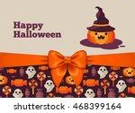halloween postcard design with... | Shutterstock .eps vector #468399164
