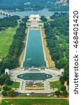 Small photo of Abraham Lincoln and WWII memorial in Washington, DC aerial view