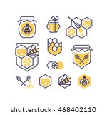 set of line and color bee and... | Shutterstock .eps vector #468402110