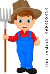 cartoon young farmer holding... | Shutterstock .eps vector #468403454