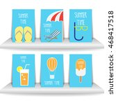 summer time blue vector set of... | Shutterstock .eps vector #468417518