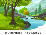 peaceful forest enriched with... | Shutterstock .eps vector #468420698