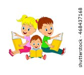 kids boys and girl sitting and... | Shutterstock .eps vector #468437168