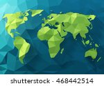 Vector polygonal world map. Low poly design. Origami planet illustration. Conceptual world map synthesis. | Shutterstock vector #468442514