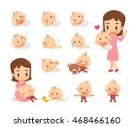 mom and baby. baby development... | Shutterstock .eps vector #468466160