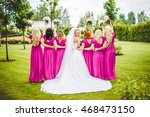 bride with bridesmaids in a... | Shutterstock . vector #468473150