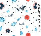 vector flower pattern. seamless ... | Shutterstock .eps vector #468477863