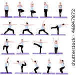 Woman in Yoga Position (Multiple Poses) - stock photo