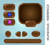 wooden mobile gui elements... | Shutterstock .eps vector #468484613