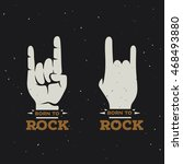 born to rock vintage poster.... | Shutterstock .eps vector #468493880