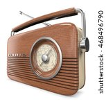 wooden retro radio. 3d render... | Shutterstock . vector #468496790