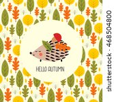 Autumn Card With Hedgehog. Cut...