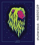 zodiac sign leo on night starry ... | Shutterstock .eps vector #468505109