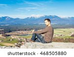 handsome young man in spring... | Shutterstock . vector #468505880