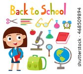back to school set with girl... | Shutterstock .eps vector #468509894