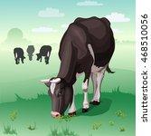 cows grazing on green meadow....   Shutterstock .eps vector #468510056