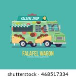 colorful vector falafel truck.... | Shutterstock .eps vector #468517334