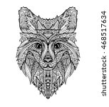 vector hand drawn fox animal on ... | Shutterstock .eps vector #468517634