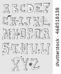 hand drawn alphabet | Shutterstock .eps vector #468518138