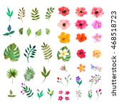 Stock vector vector floral set colorful floral collection with isolated leafs and flowers drawing watercolor 468518723