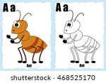 alphabet coloring book page... | Shutterstock .eps vector #468525170