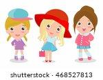 set of cute fashion teenage... | Shutterstock .eps vector #468527813